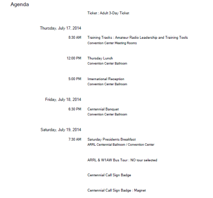 ARRL Convention Schedule
