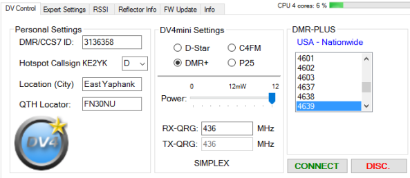 DV4mini DV Control Panel