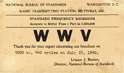 QSL_card_sent_to_listener_confirming_reception_of_WWV_from_Maryland_-_194007