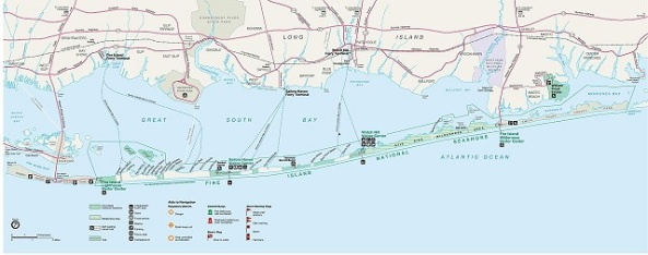Map of The Fire Island National Seashore